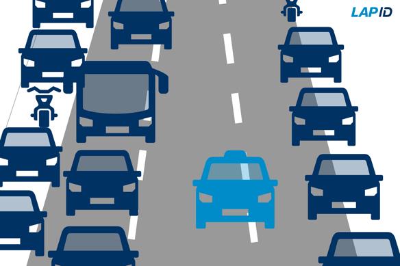 Rettungsgasse bei einer Autobahn oder Schnellstraße mit mehr als zwei Spuren