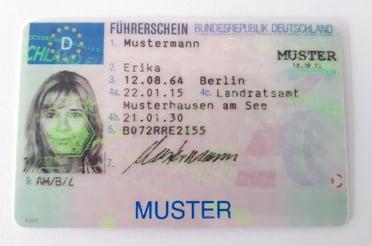 Führerschein ab 2013 Vorderseite