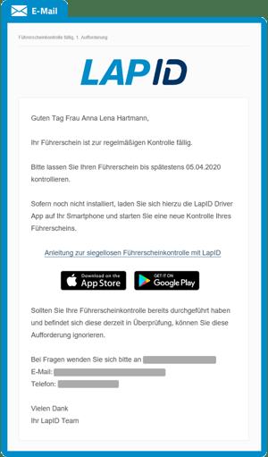 Mail-Kontrollaufforderung