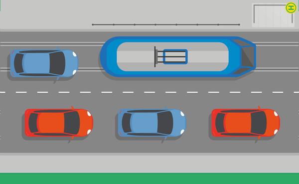 Straßenbahn Schienen im linken Fahrstreifen