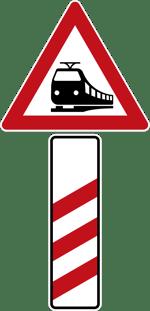 Verkehrszeichen_156-10-Bahnübergang-dreistreifiger-Bake
